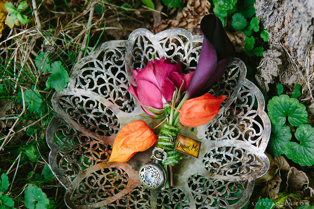 03 Alice in Wonderland Inspiration Chinese Lantern Calla Lily Boutonniere Aribella Events .JPG