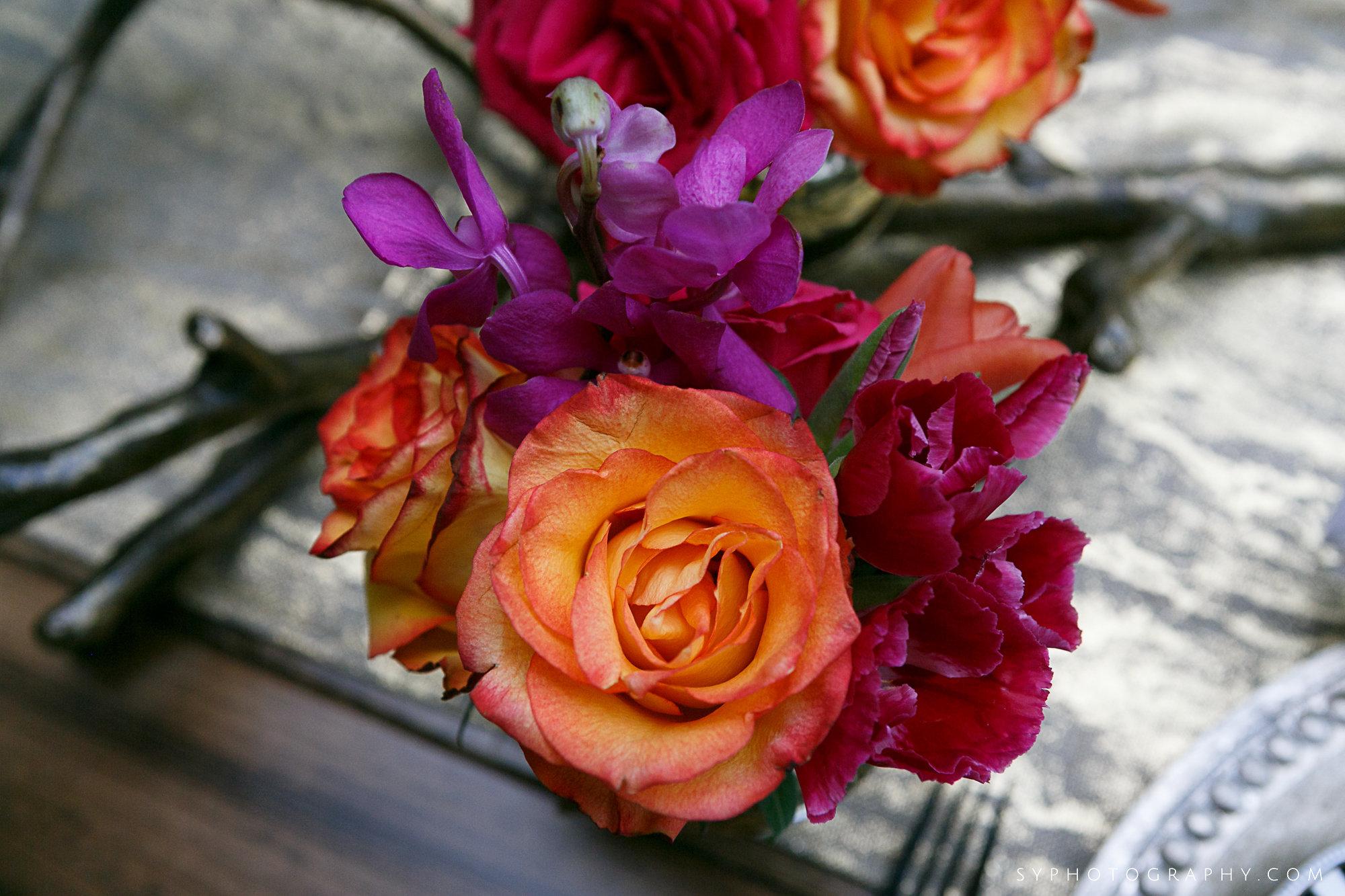 12 Orange Rose Purple Orchid Gold Mercury Glass Spring Wedding Decor Aribella Events.jpg