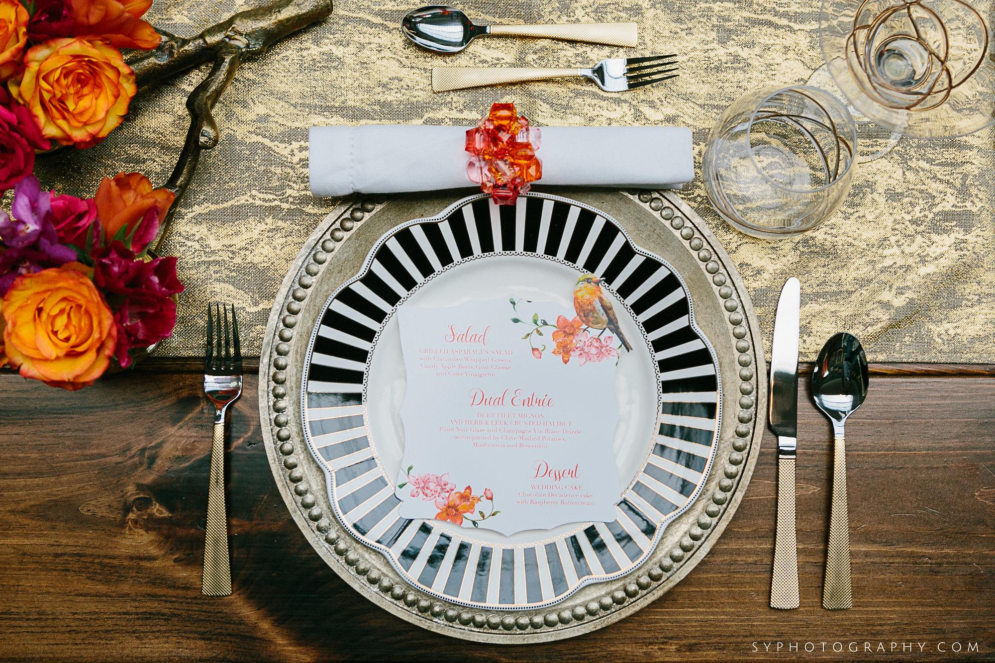 10 Spring Wedding Tablescape Black and White China Orange Pink PAFA Philadelphia Wedding Designer.jpg