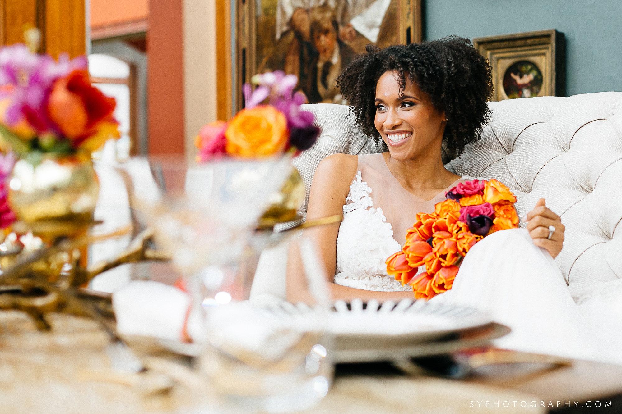 15 Spring Wedding Birds Branches Gold Orange Purple PAFA Philadelphia Wedding Florist.jpg
