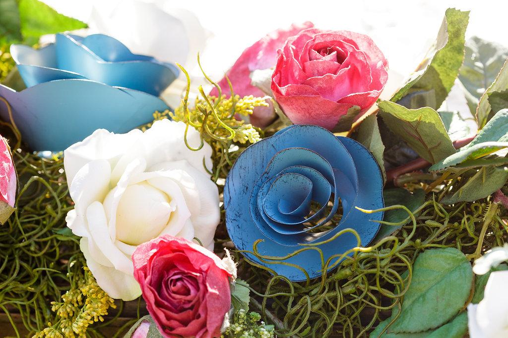 22 Mixed Media Flowers Metal Flowers Paper Flowers Roses Wedding Decor.jpg