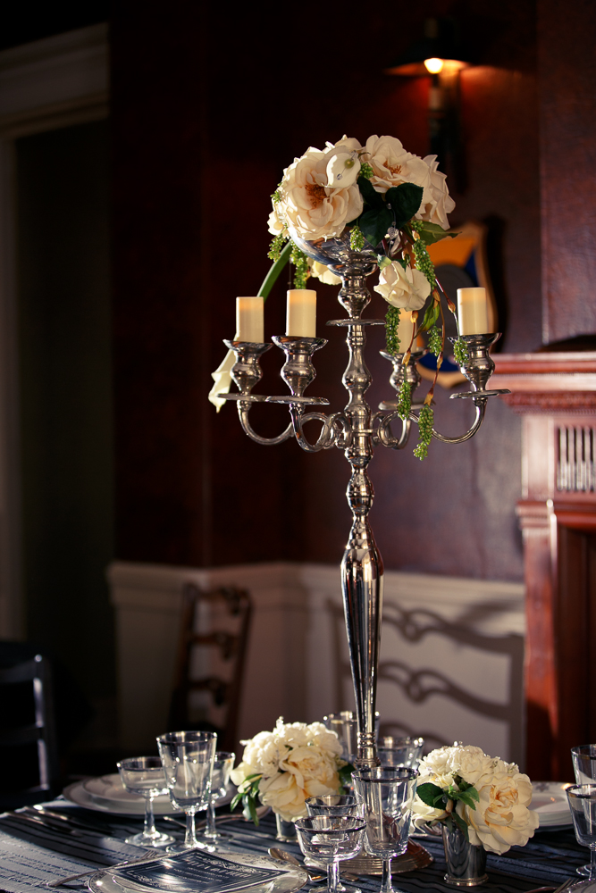 13 Great Gatsby Wedding Table Centerpiece Candelabra Calla Lily Rose Candlelight.jpg
