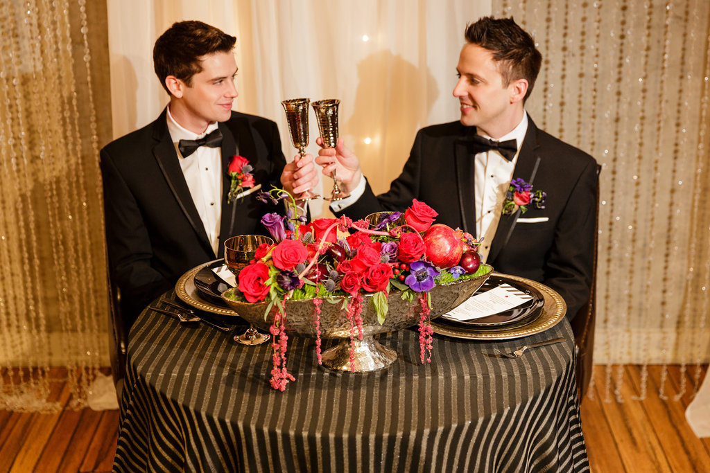 11 Industrial Glamour Sweetheart Table Front and Palmer Black Silver Red Wedding.jpg