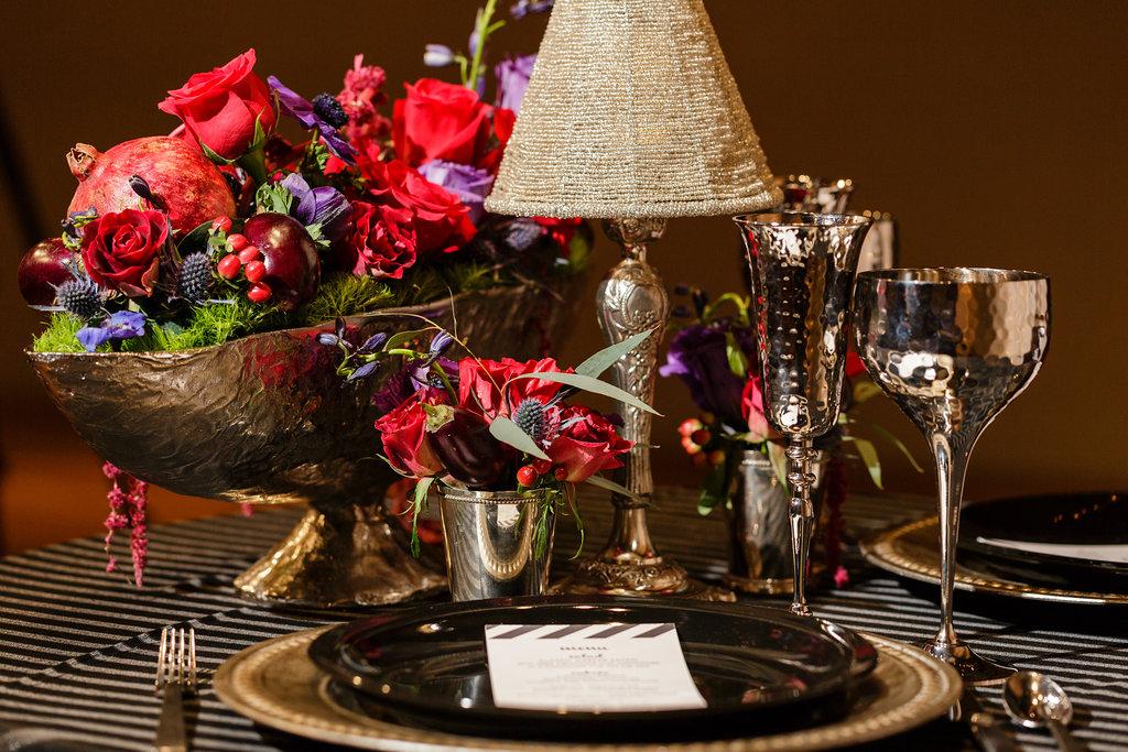 13 Industrial Glamour Steampunk Wedding Centerpiece Black Silver Wedding Red Purple Wedding.jpg