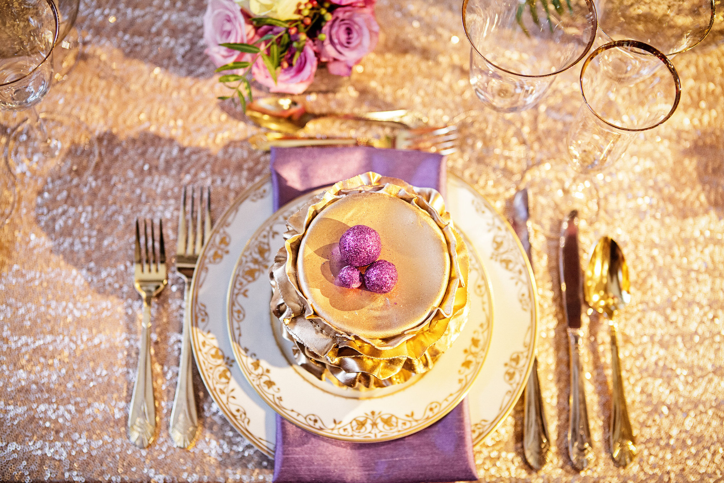 13 Gold Ruffled Cake Place Setting Gold Sequin Radiant Orchid Philadelphia Wedding Designer.jpg