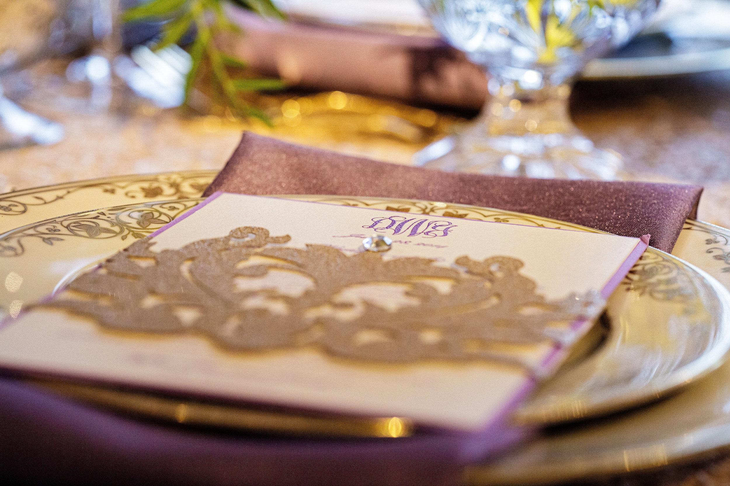 14 Custom Wedding Menu Radiant Orchid Gold Sequin Philadelphia Wedding Planner.jpg