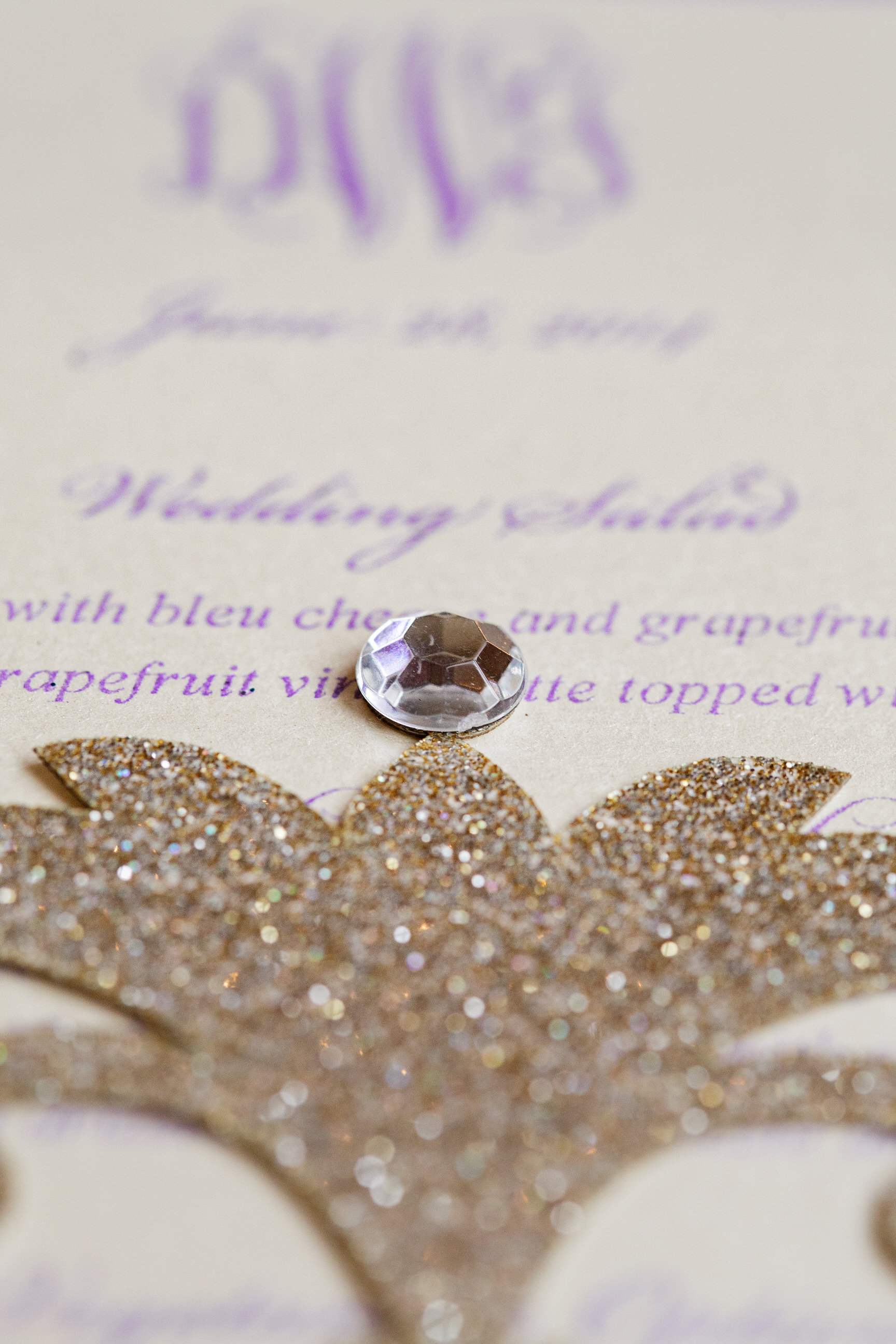 05 Custom Wedding Stationery Detail Gold Glitter Crystal Philadelphia Wedding Aribella Events.jpg