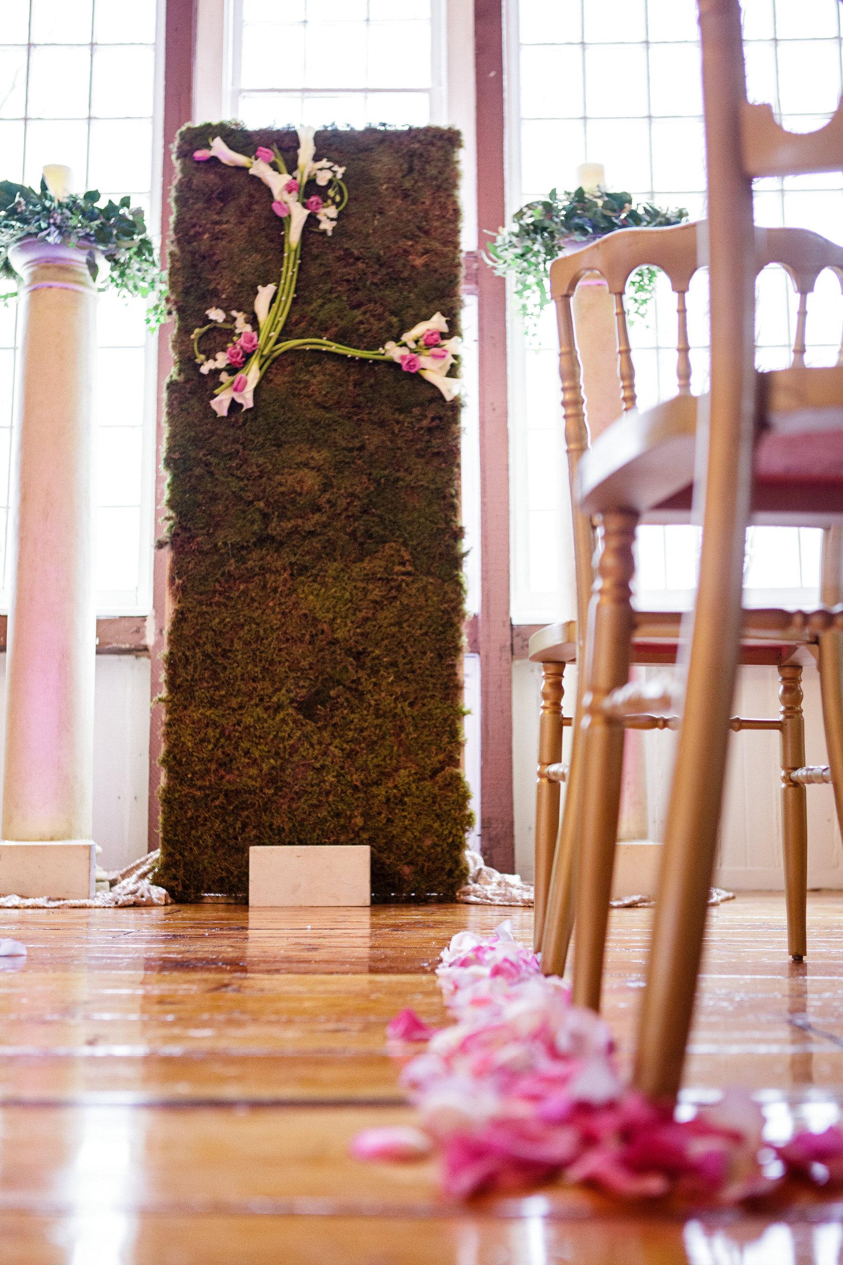 07 Monogram Ceremony Backdrop Calla Lily Rose Flower Wall Ceremony.jpg