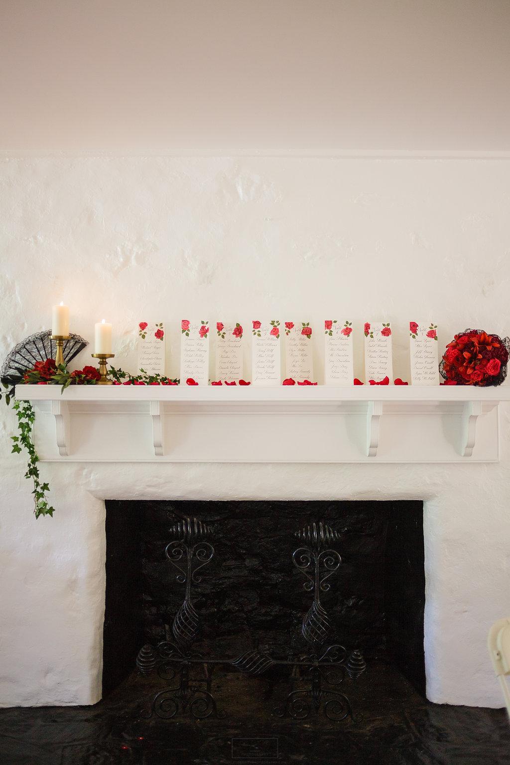 14 Spanish Rose Escort Card Wedding Mantel Decoration Philadelphia Wedding Planner Bolingbroke Mansion.jpg