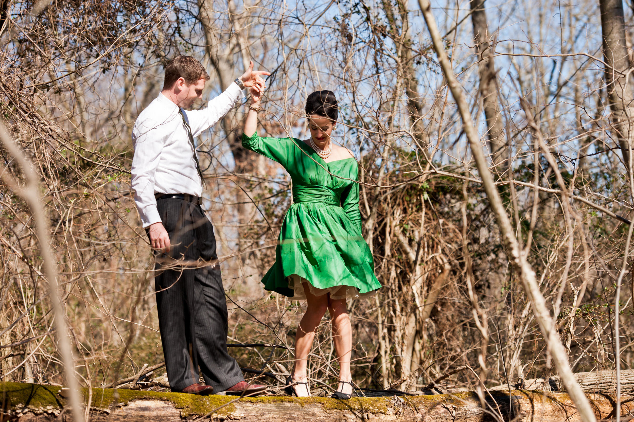 06 Mad Men Walk in the Woods Vintage Cocktail Dress Styled Engagement Session.jpg