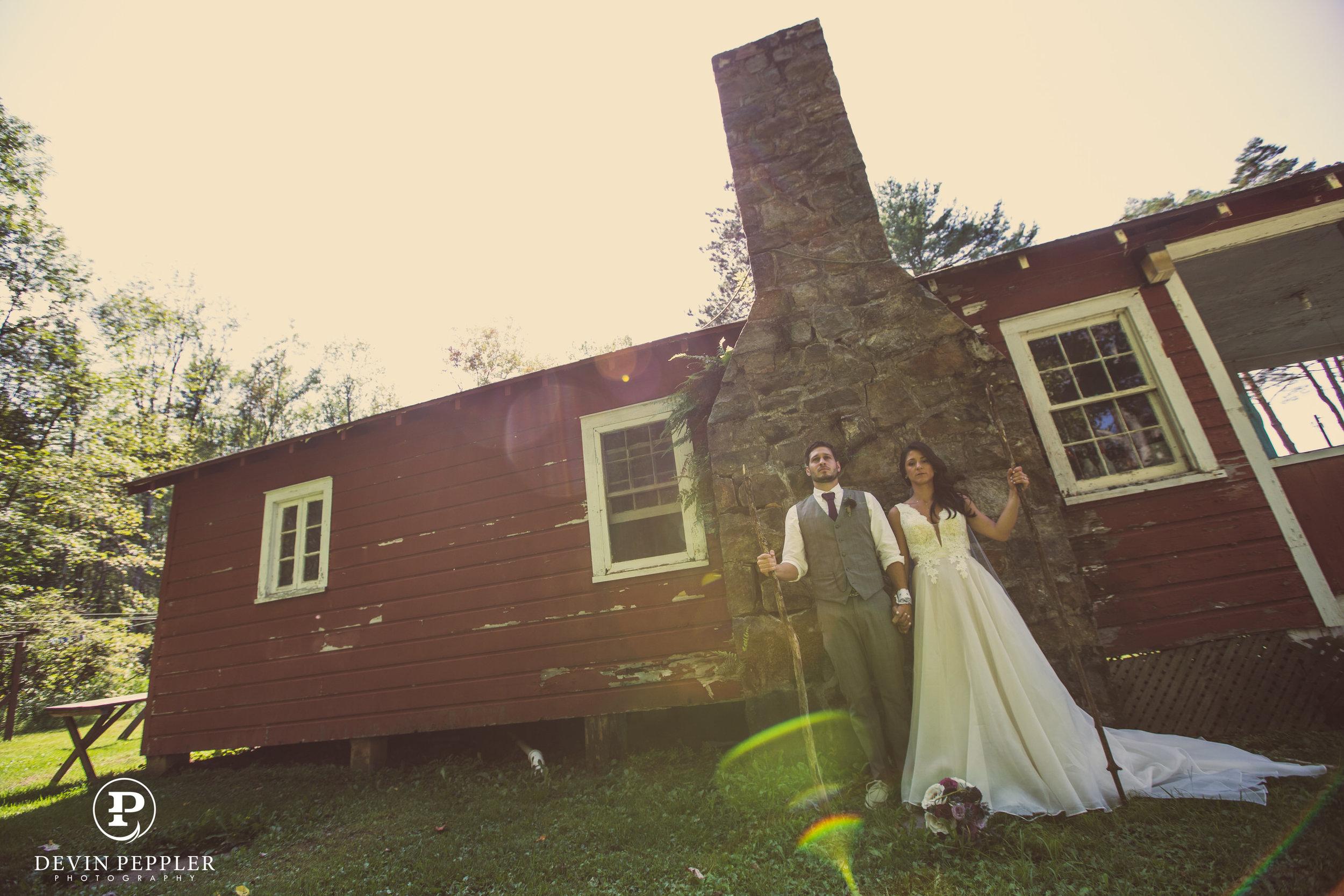14 Sleepover Camp Wedding Trout Lake Poconos Wedding Couple Portrait.jpg