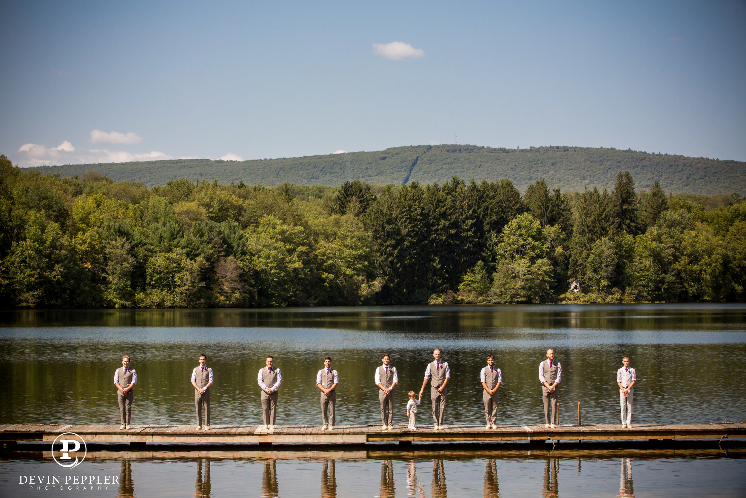16 Camp Wedding Groomsmen on Deck Trout Lake Poconos Aribella Events.jpg