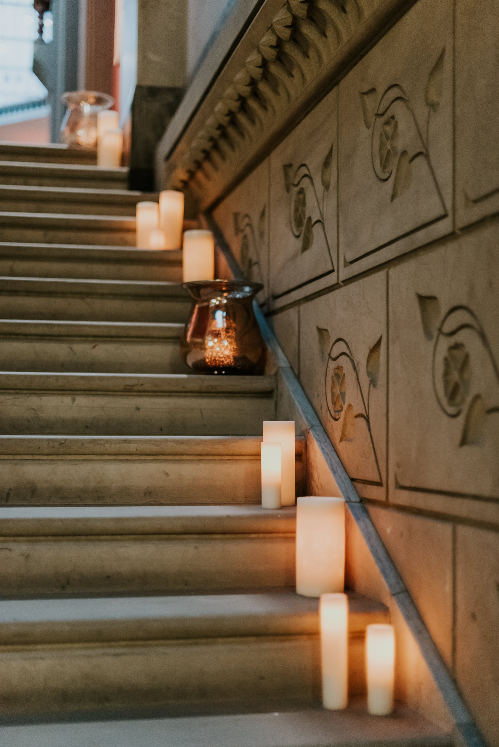 32 Philadelphia Wedding PAFA Grand Staircase Candlelight Aribella Events.jpg
