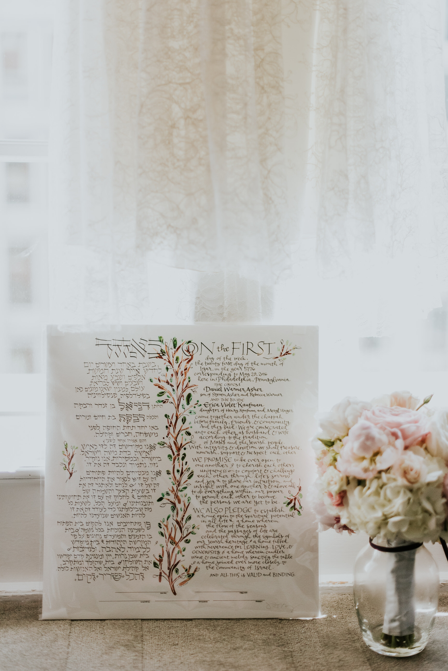 01 Philadelphia Wedding PAFA Wedding Le Meridien Ketubah Brides Bouquet.jpg