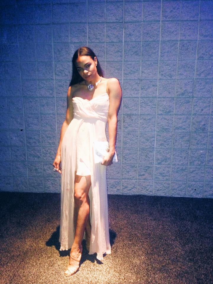 wearing: nicole miller gown, manolo blahnik shoes, custom clutch, and jewelry by norberto aquino.