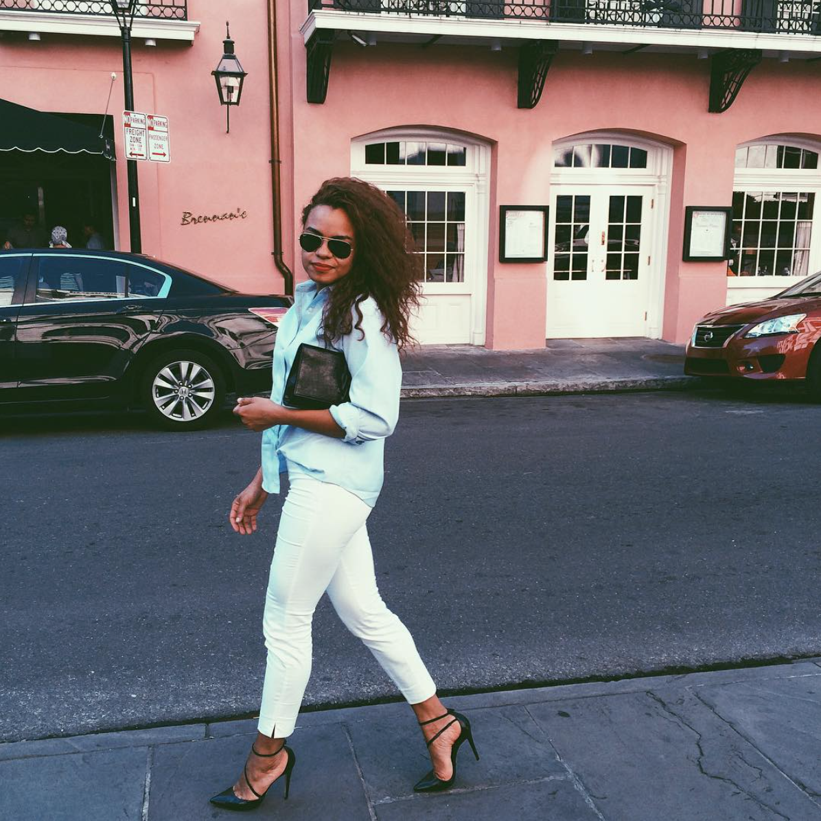 wearing: H&M pants, Land's End top, Alice & Olivia shoes, YSL clutch, Ray Ban sunglasses