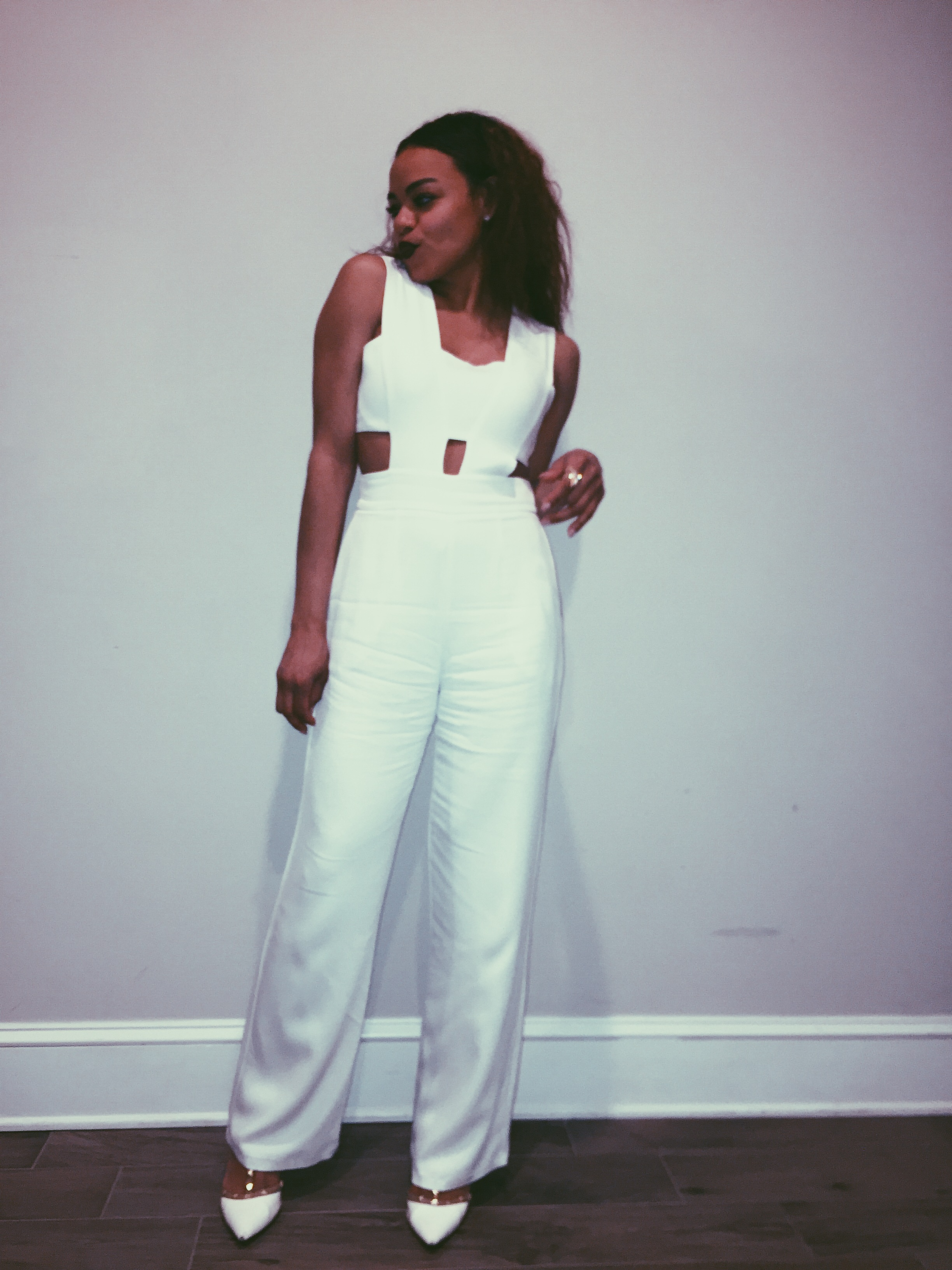 Wearing: Karina Grimaldi jumpsuit and BCBG heels