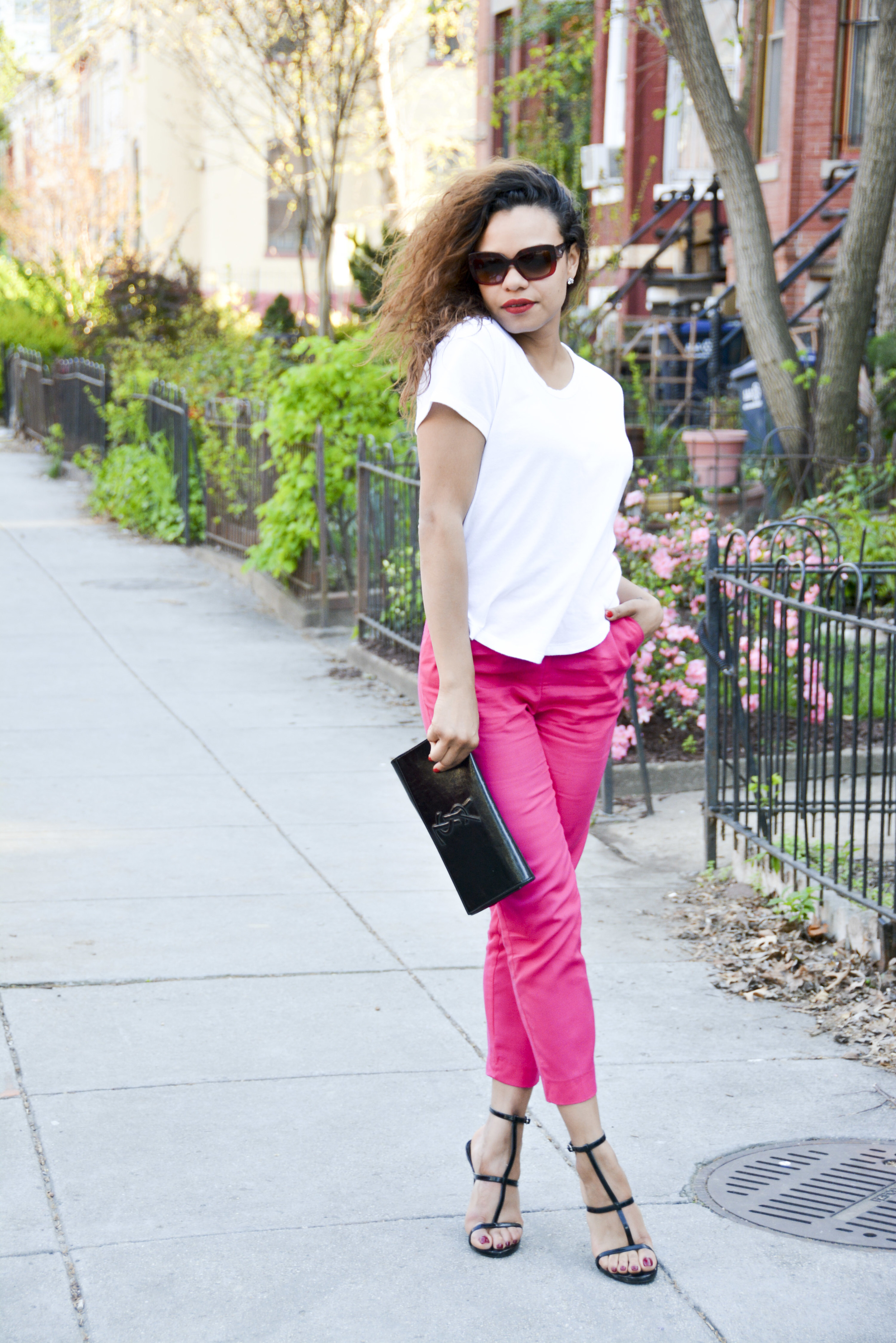 wearing: H&M Trousers, Zara top, Forever21 shoes, YSL clutch, Prada sunnies