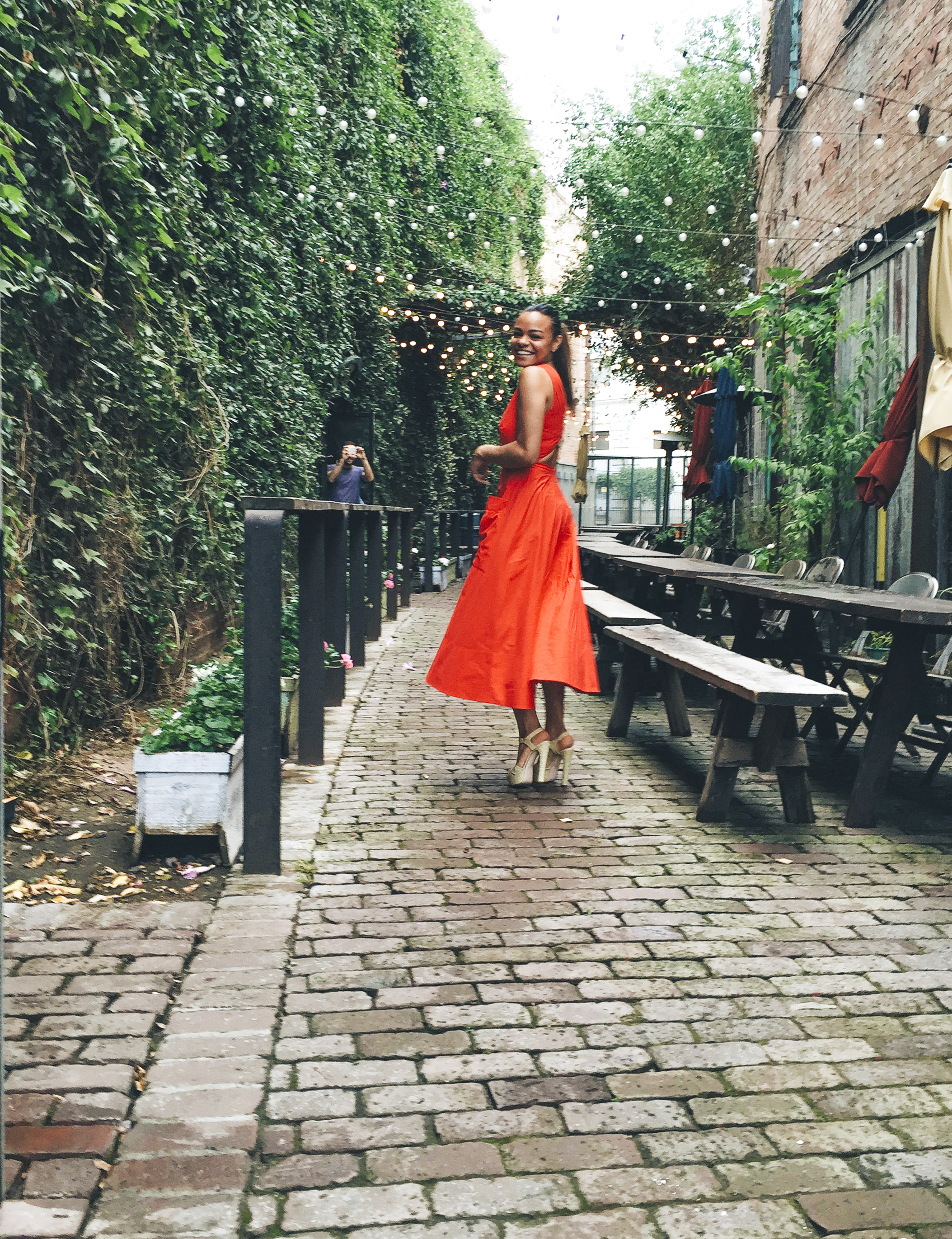 wearing: Saloni dress, RED Valentino shoes