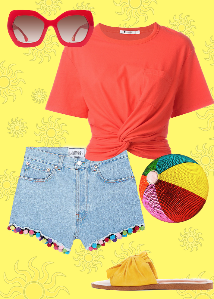 Top:  T by Alexander Wang , shorts:  Lane Crawford , shoes:  1. State , Sunnies:  Alice + Olivia , Beach Ball bag:  Judith Leiber