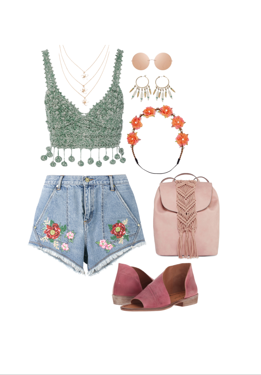 Top:  Kirna Zabete , Bottom:  House of Holland , Shoes:  Zappos , Backpack:  JCPenny , Flower crown:  JCPenny , Sunglasses:  Linda Farrow , Earrings:  Lyla Loves , Necklace:  Shoe Dazzle