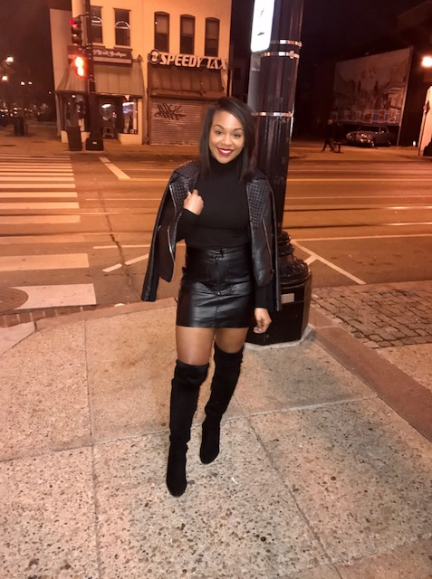 All black at the white show. Actually didn't wear this to a white show, wore it for my friends birthday celebrations in DC (I'm alway there, I should move). Anywhoo, leather on leather plus black PLUS thigh highs...showstopper!