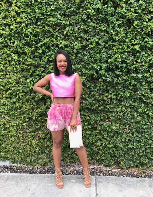 It's Miami, you gotta go all out with colors and prints! I LOVE this pink outfit so much!I've had these Rachel Roy shorts since 2010!!