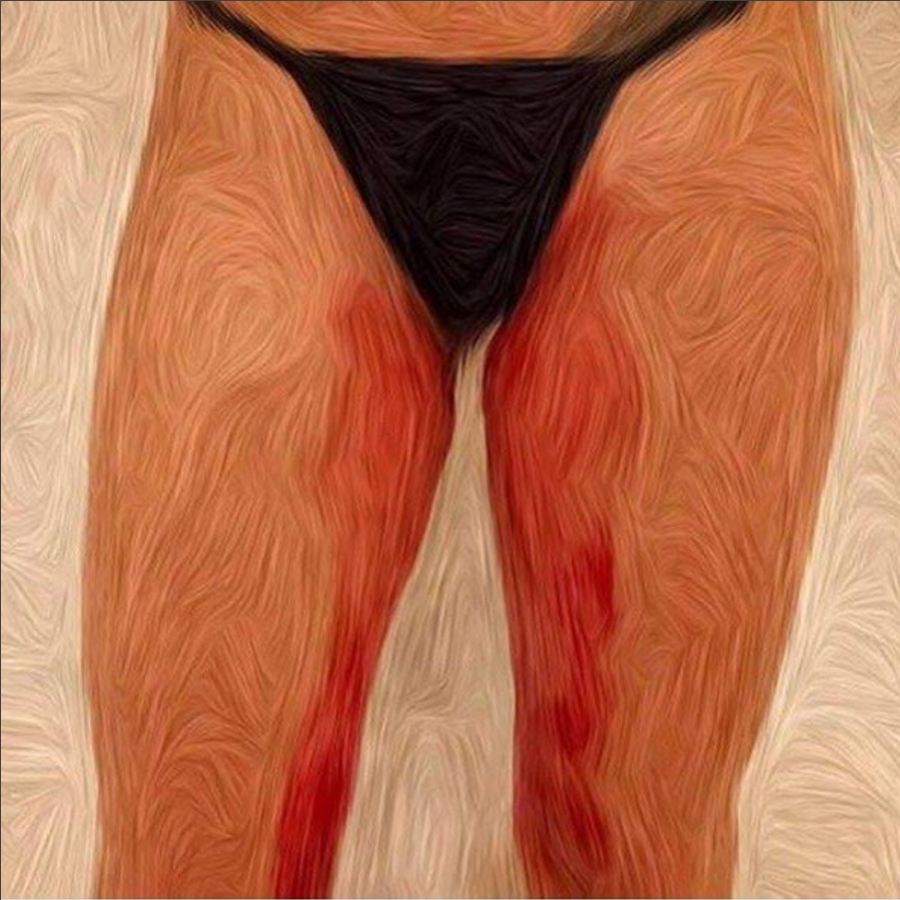 The painting by  @zoezwetsloot , Free Bleed, was created using menstrual blood, to bring 'period poverty' into the spotlight.