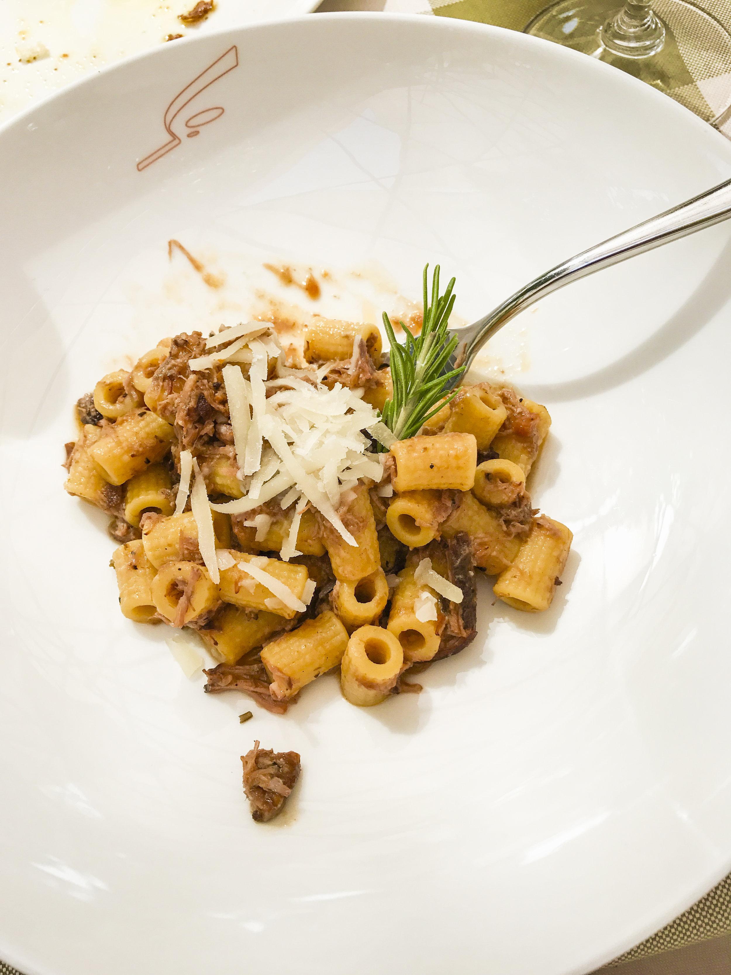 Maccheroncelli al sugo di anatra ~ short macaroni pasta with Tuscan style duck ragout