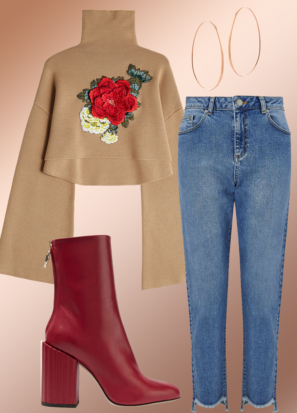 Top:  William Fan , Jeans:  Ms. Selfridge , Boots:  Petar Petrov , Hoops:  Lana
