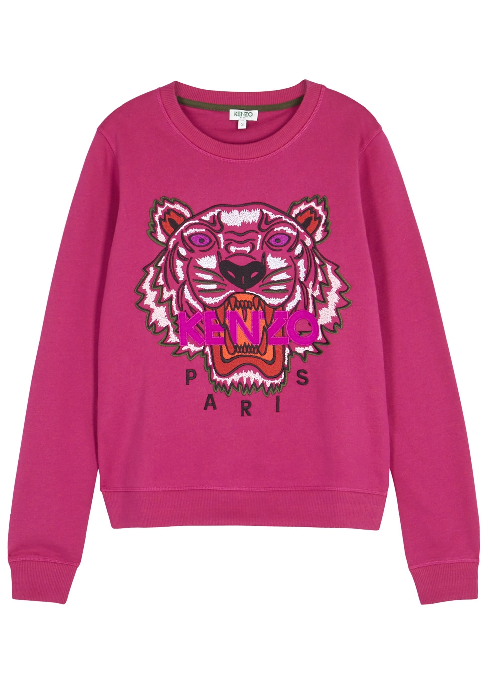 Kenzo - Fuchsia tiger-embroidered cotton sweatshirt, $251.98