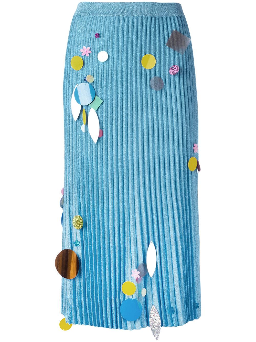 Christopher Kane - pleated sequin detail knitted skirt, $673