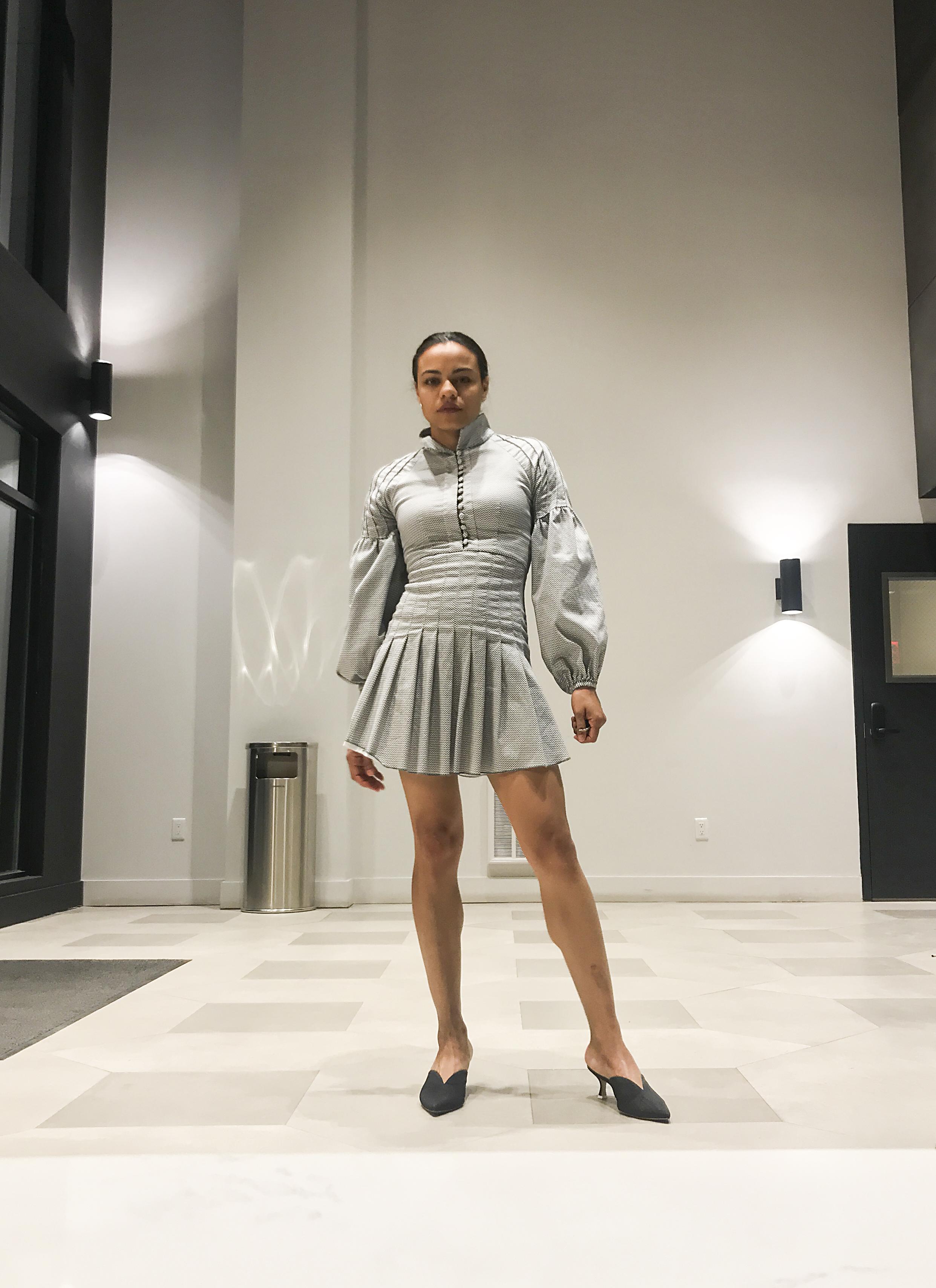 Dress: C/MEO Collective. Shoes: Attico