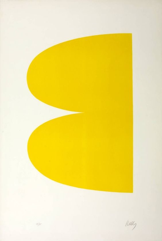 Ellsworth Kelly born 1923, Yellow (II.2 Yellow; Jaune Série II No.2) From Suite of Twenty-Seven Color Lithographs, 1964–5, Lithograph on paper, 594 x 394 mm Collection Tate Acquisition Presented by the Museum of Modern Art, New York 1976