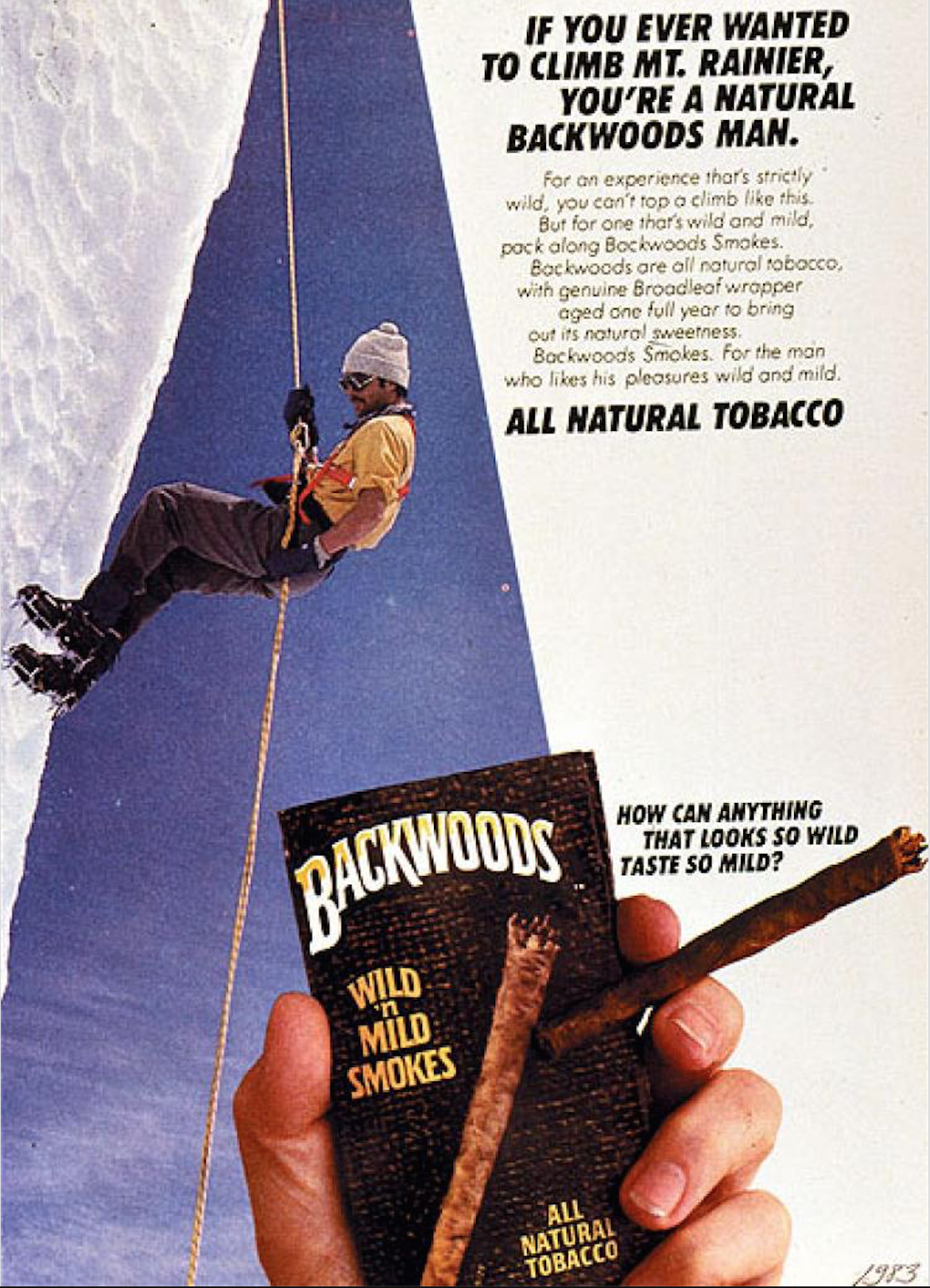 Backwoods Smokes AD from 1983