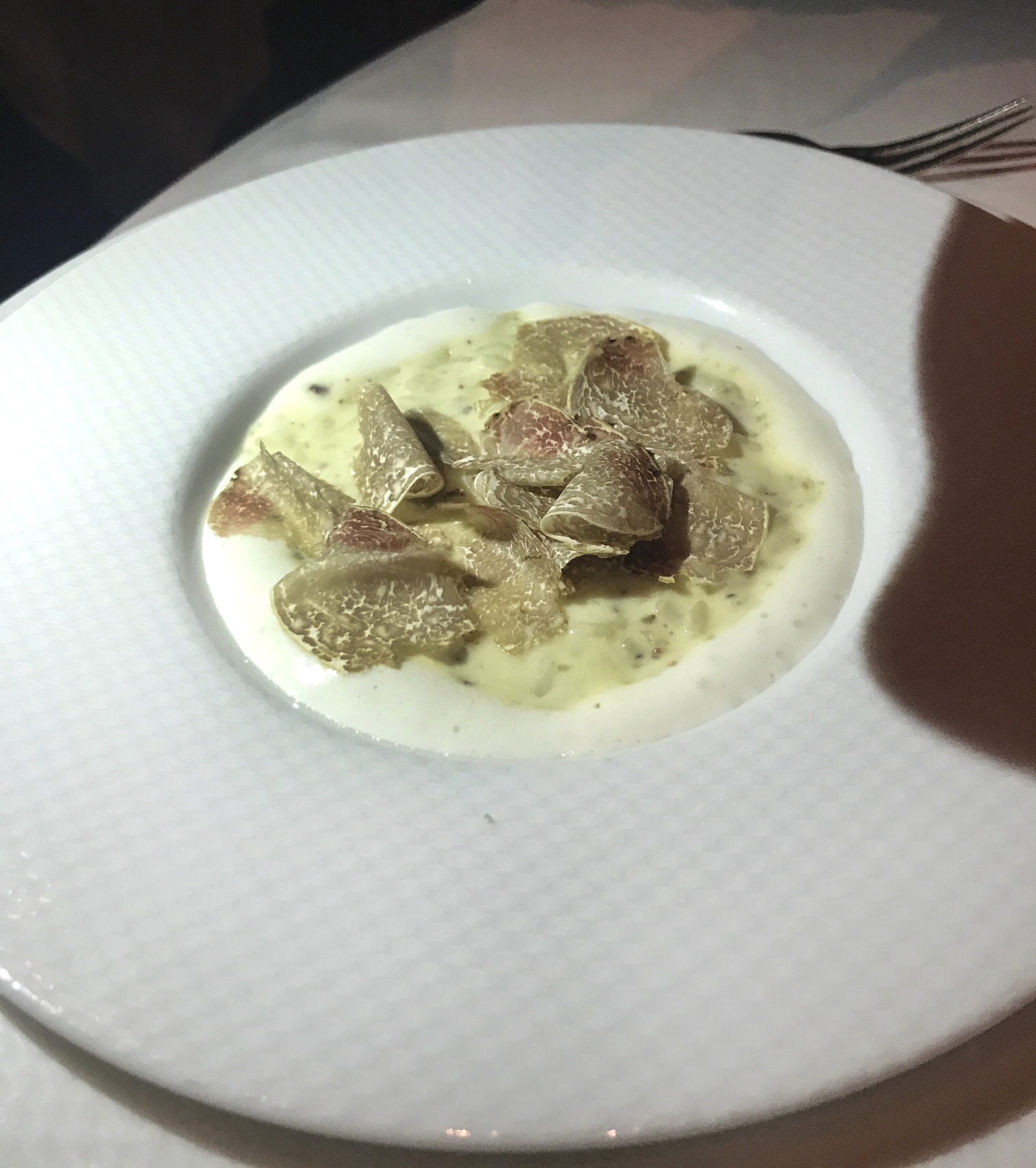 "Carnaroli Risotto Biologico with shaved truffle from Alba, ""Castelmagno,"" and ""Beurre Noisette"""