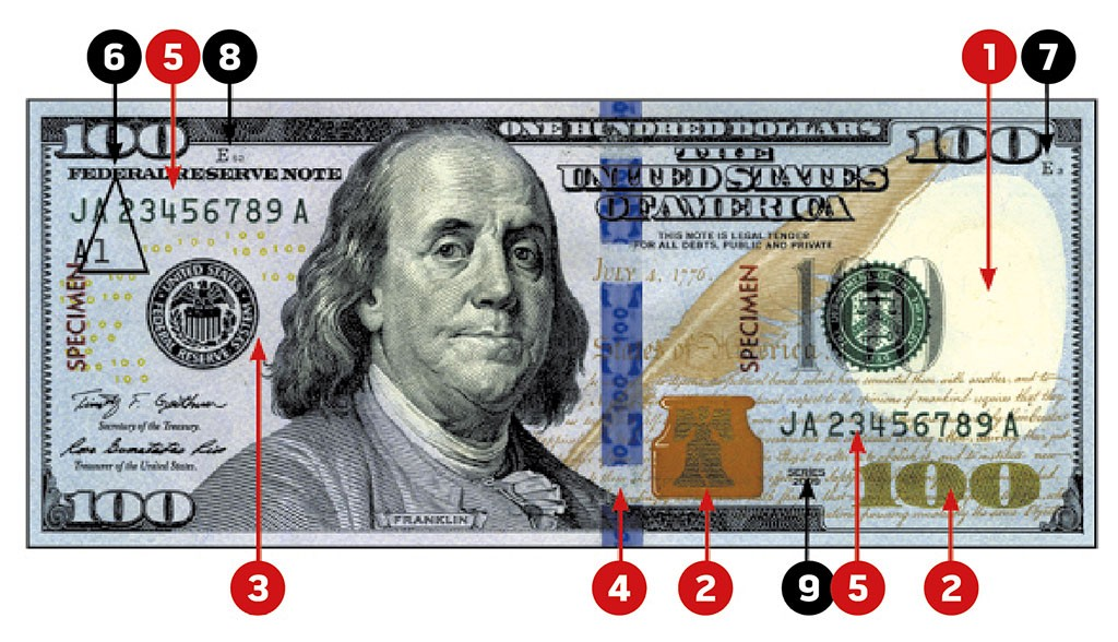 KNOW YOUR MONEY   : 1. Watermark 2. Color-shifting ink 3. Security thread 4. 3D security ribbon 5. Serial numbers 6. Federal Reserve indicators 7. Note position and number 8. Face plate number 9. Series year 10. Back plate number (not shown) . CREDIT: Seven Days
