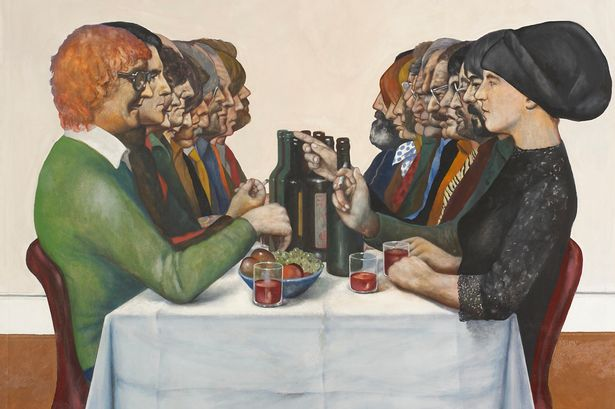 art by  sam walsh  - dinner party, 1980