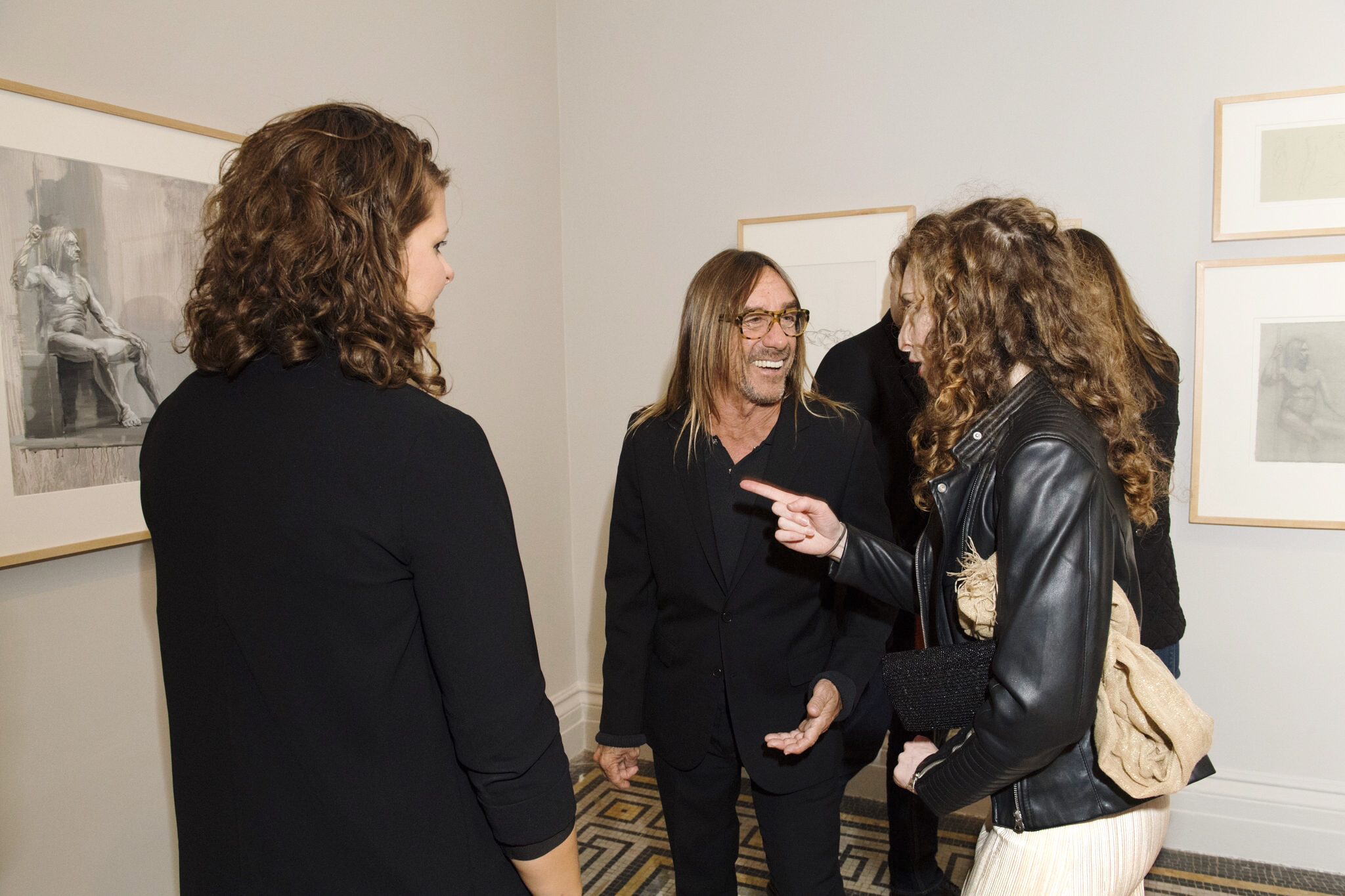 Iggy Pop and Charlotte Segall chat about her nude life drawings of him on display at the Brooklyn Museum, November 4th, 2016 - June 18, 2017;  Iggy Pop Life Class  with catalog published by Heni.  Brooklyn Museum Photograph © Elena Olivo Photography