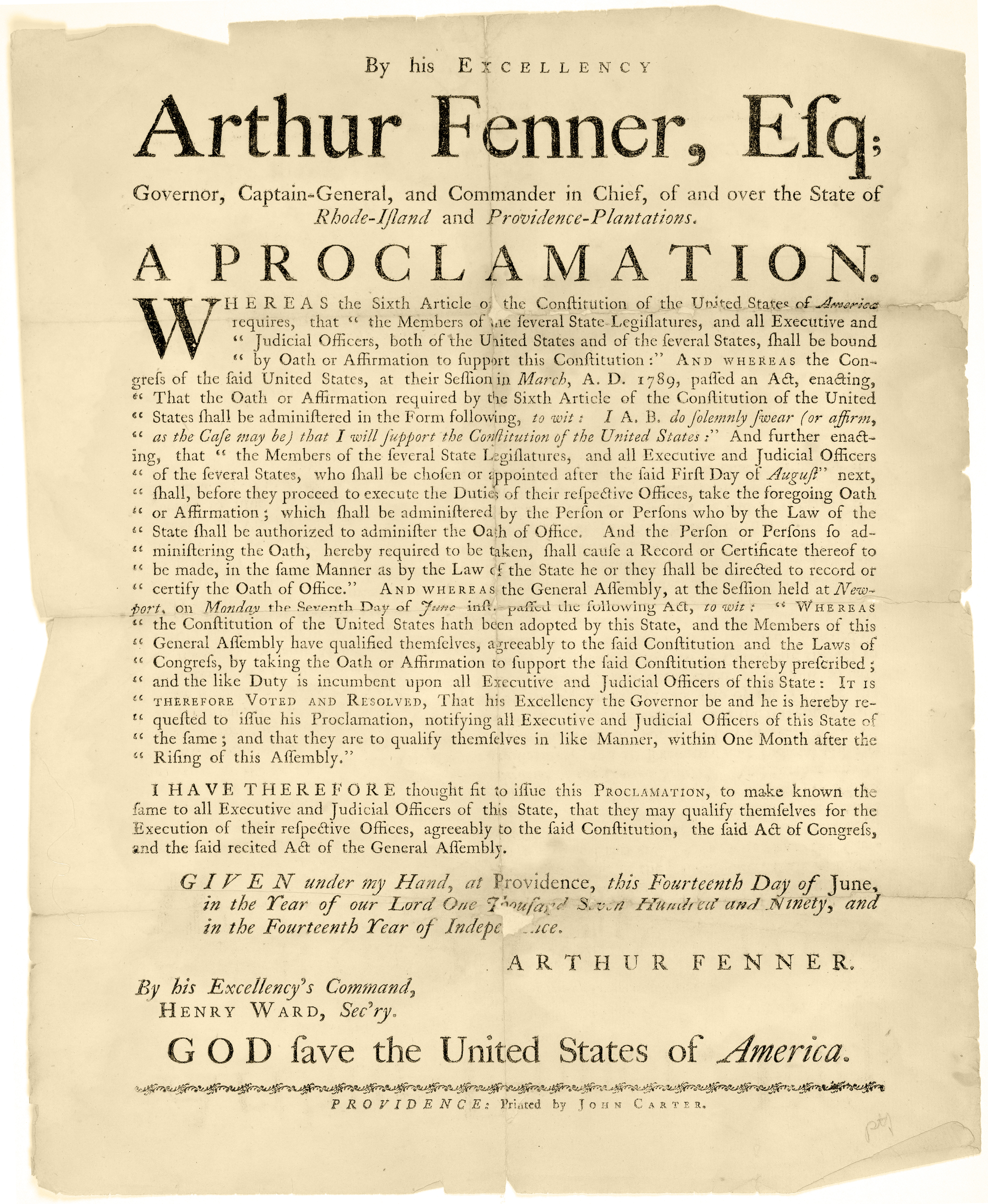 Proclamation requiring government officials to swear allegiance to the U.S. Constitution, 14 June 1790. (memory.loc.gov)