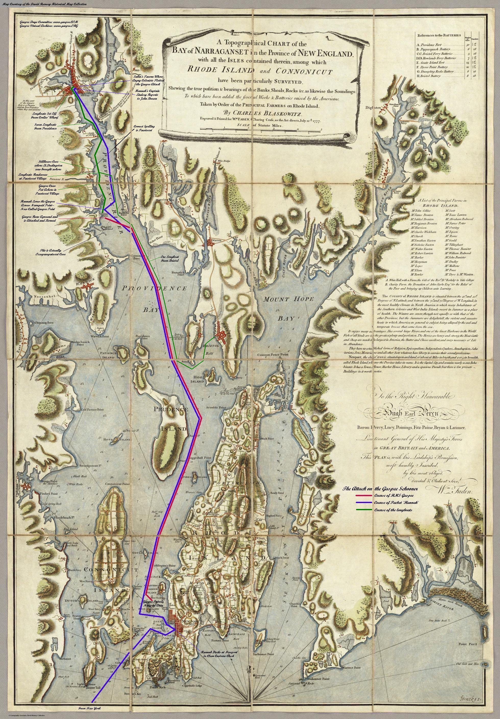Map showing the location of Fenner's Wharf (top left)and the progression of the Gaspee Incident (gaspee.org)