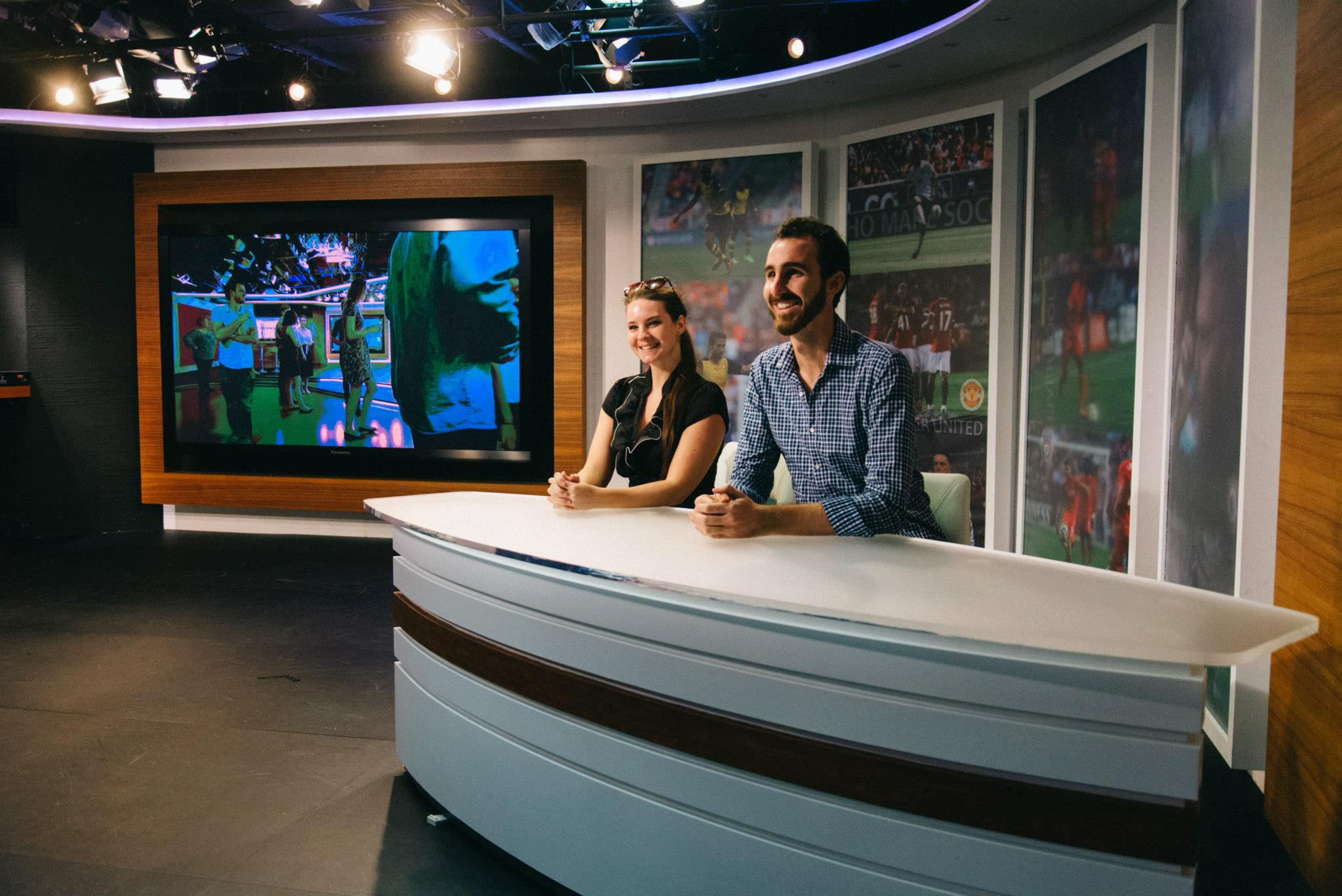 Sarah and Dom anchoring the Now TV Sports Desk