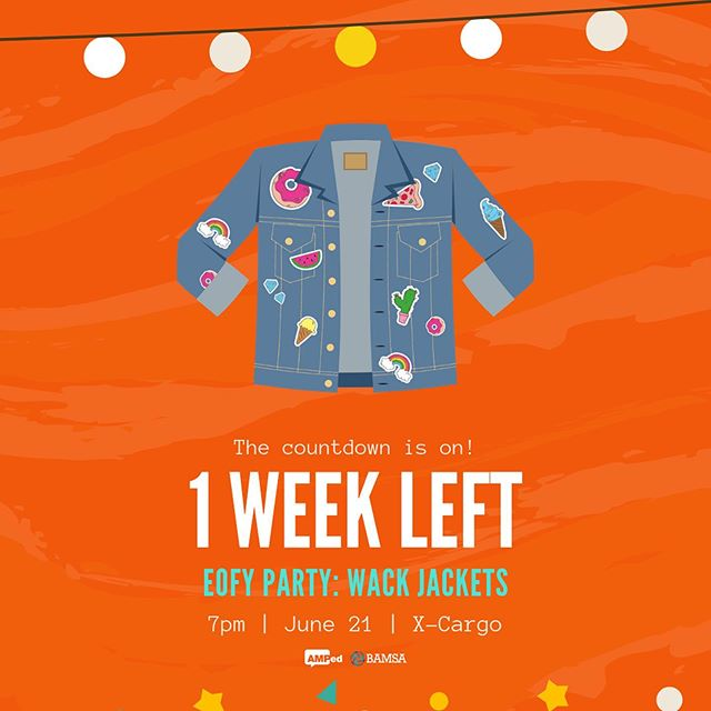 🔸💃 1 WEEK TO GO 🕺🔸 Celebrate making it halfway through exams by treating yourself to the WILDEST AND WACKIEST AFTER PARTY!  Tickets on sale now, so snap 'em up before they sell out (AMPed and BAMSA events have a habit of doing that...) We'll see YOU and your WACK JACKET next Friday at XCARGO 🤩💃🕺