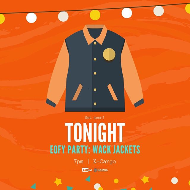 🕺🏻🔶 Get ready everyone, the EOFY party begins tonight! Bring along your wackiest, thriftiest jacket and meet us at XCargo for a night of laughs. Seeya at 7! 🔶💃🏻