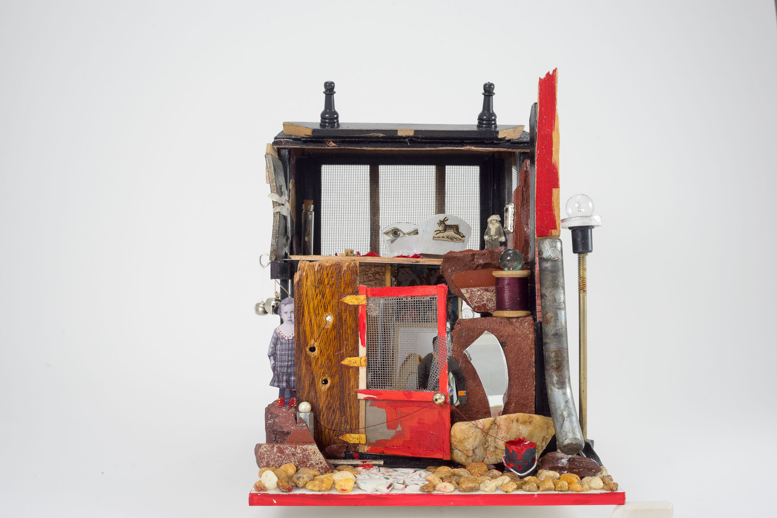 """Homefront Rumblings -  11"""" x 9"""" x 11"""" (assemblage)"""