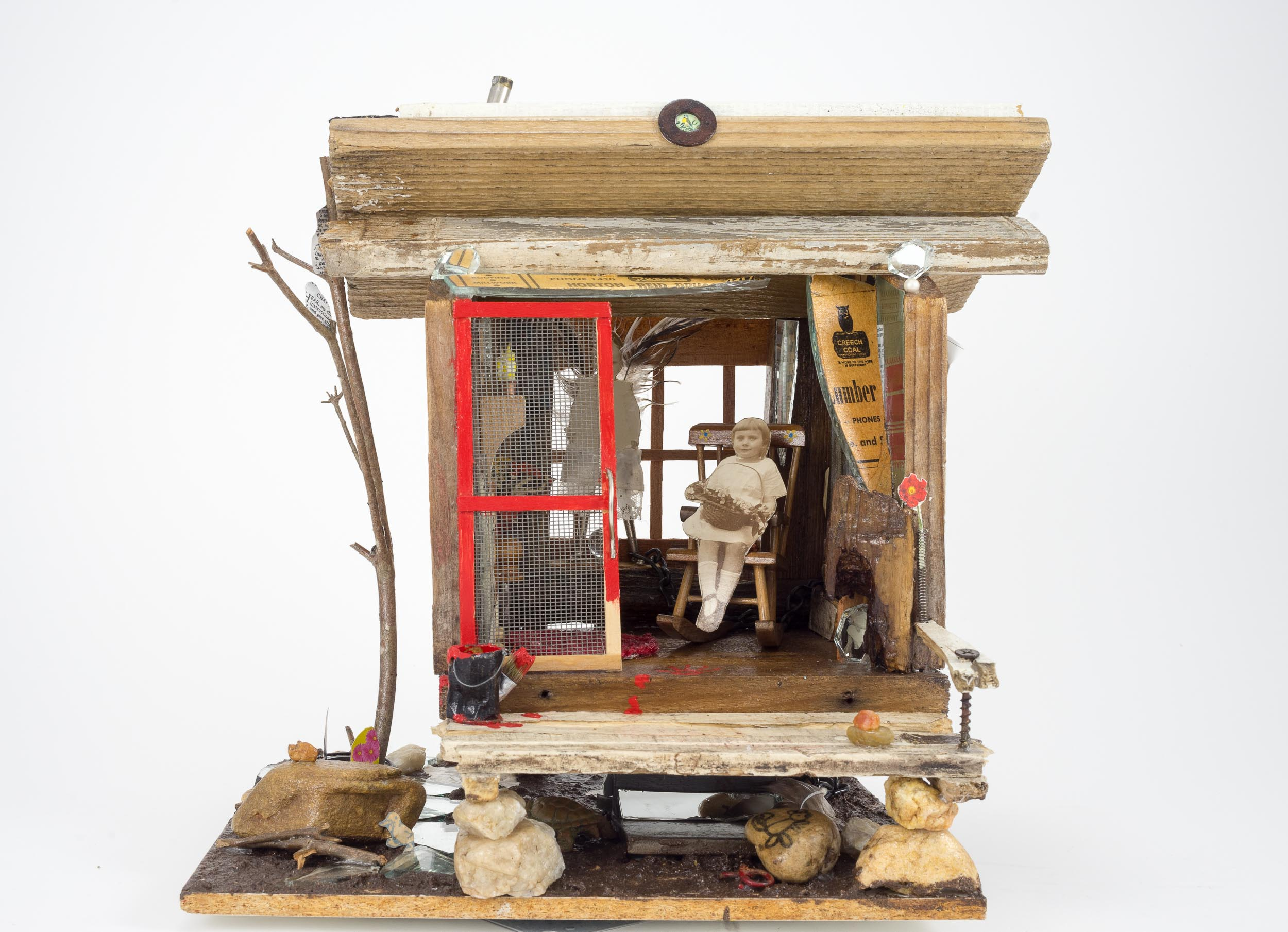 """White Washed Haint -  13"""" x 13"""" x 9"""" (assemblage)"""
