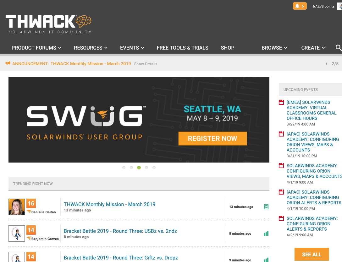 THWACK is an online community for IT professionals, with over 150,000 members