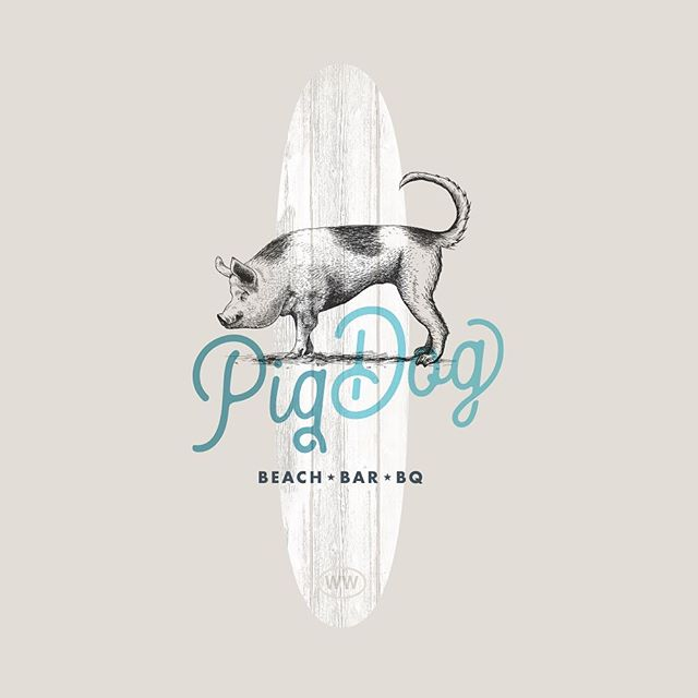 Our new favorite surfing move/beach bar/mythical creature that we need around the office. #branding @pigdogbeachbar @moreyspiers