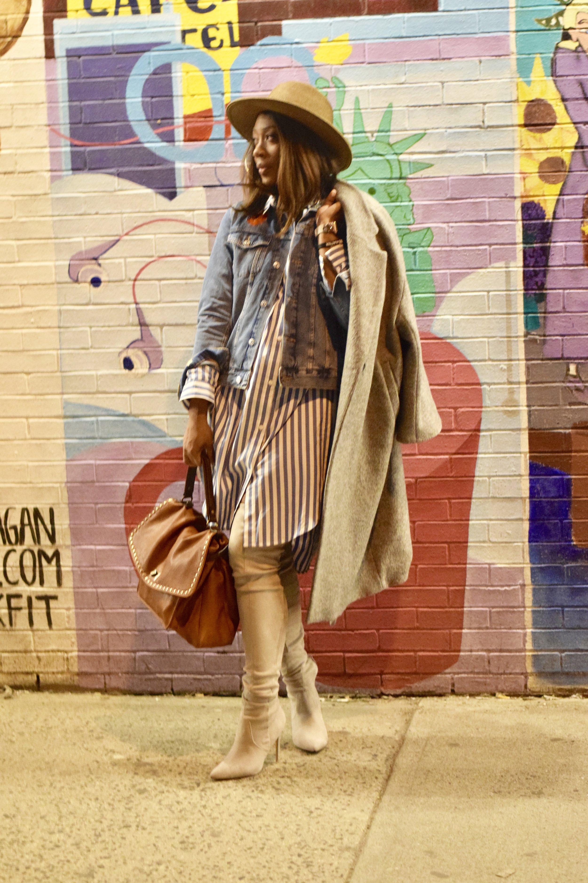 Wool coat @hm (hm.com); cognac messenger bag & hat: @vicidolls (vicicollection.com)