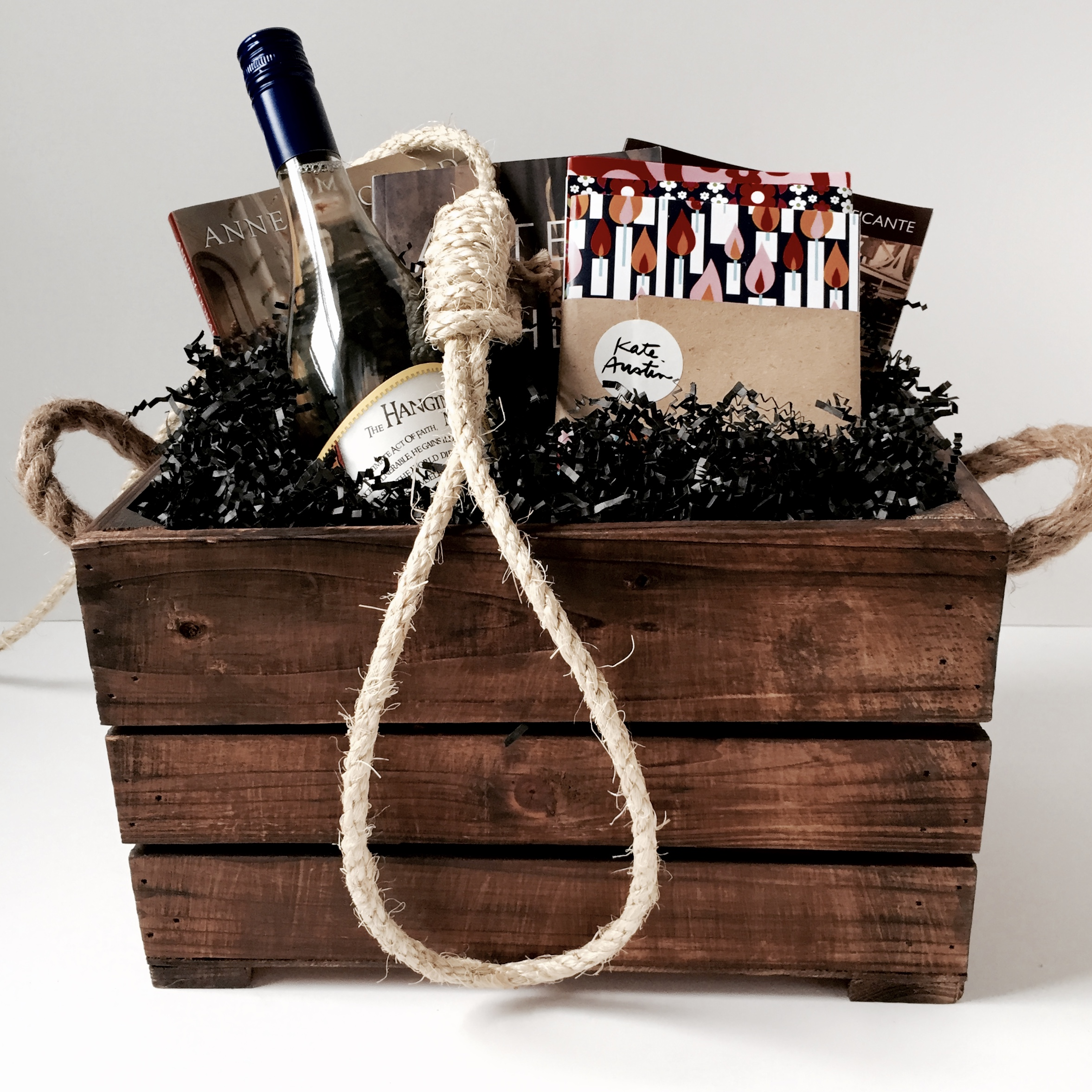"""Gift basket for launch event of """"Drop Dead"""" by Lorna Poplak. Wrapped by Corinna vanGerwen"""